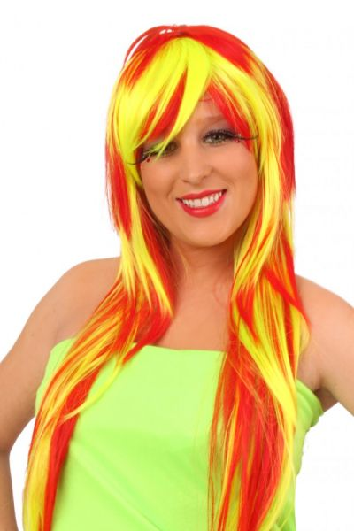Ladies wig Lola long red yellow strings