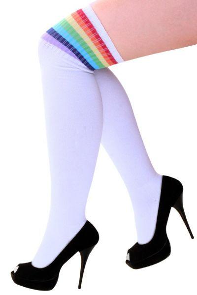 Lies stockings white with rainbow stripes