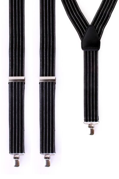 Gangster suspenders black with gray stripe