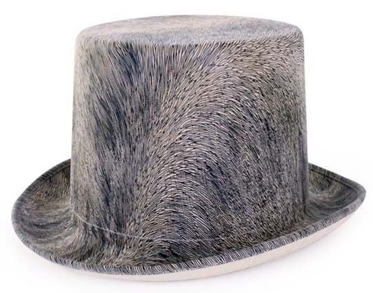 Steampunk hat hairy gray with elastic band