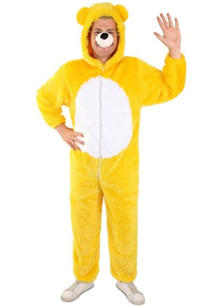 Yellow bear costume with white belly