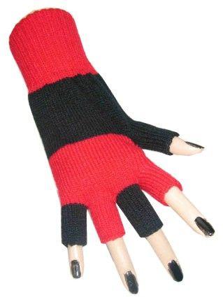 Fingerless gloves black red striped
