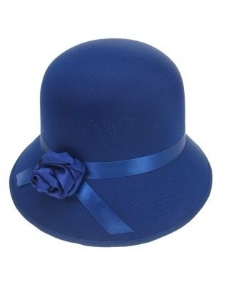 Ladies hat ball with rose neon blue