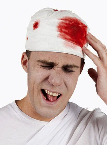 Hat with bloody bandage