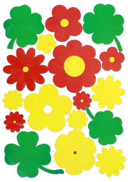 Window sticker flowers red yellow green