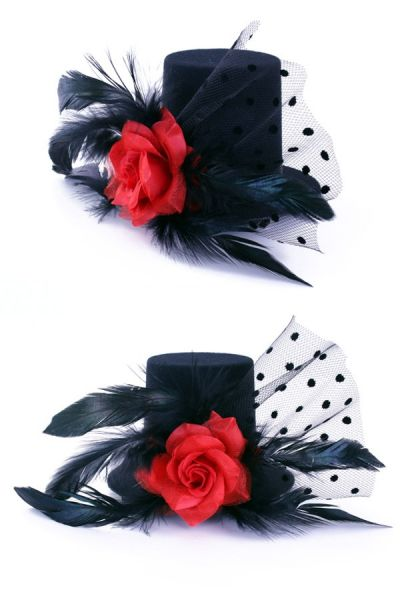 3 Mini hat black with rose on pin