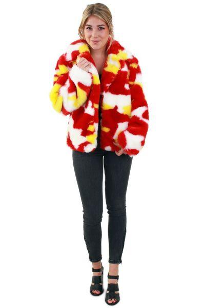 Ladies fur coat camouflage red white yellow
