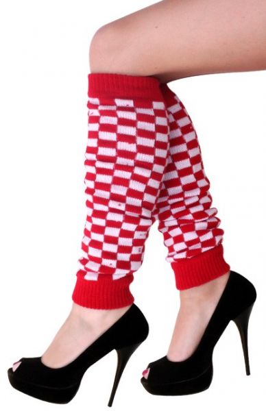 Leg warmers red white checkered