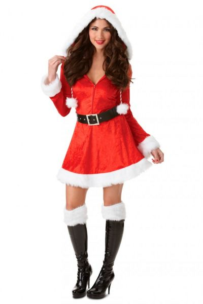 Sexy Christmas dress with red hood