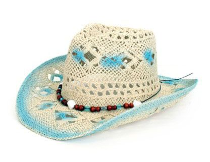 Stetson hat with decoration blue white