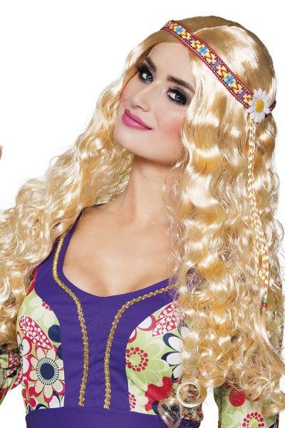 Hippie wig with headband blond