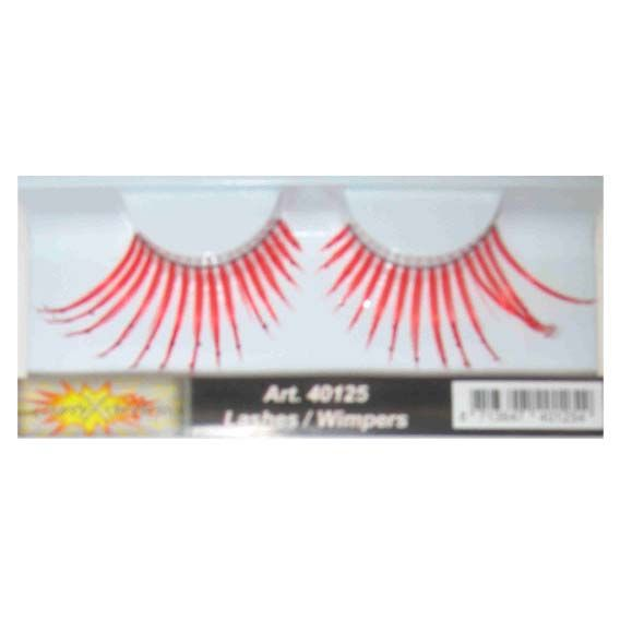 Fake eyelashes maxi red with silver dots