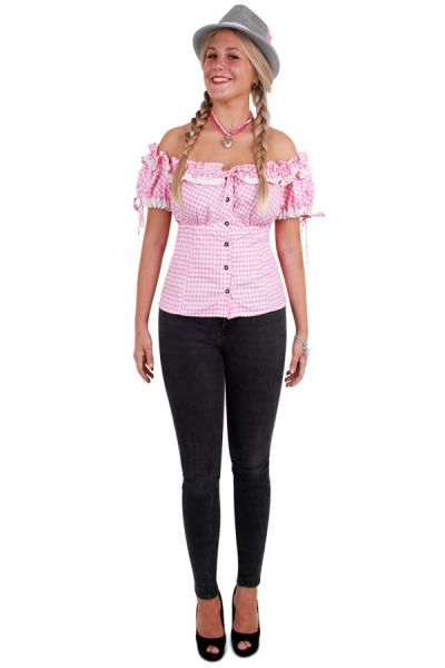 Oktoberfest Tyrolean blouse pink white ladies