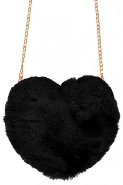 Bag plush heart black