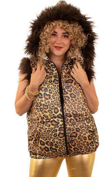Body warmer leopard print with fur