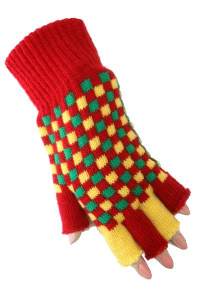 Fingerless gloves red yellow green checkered