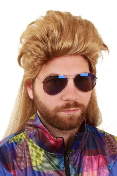 Wrong blond men dressed up wig with crest