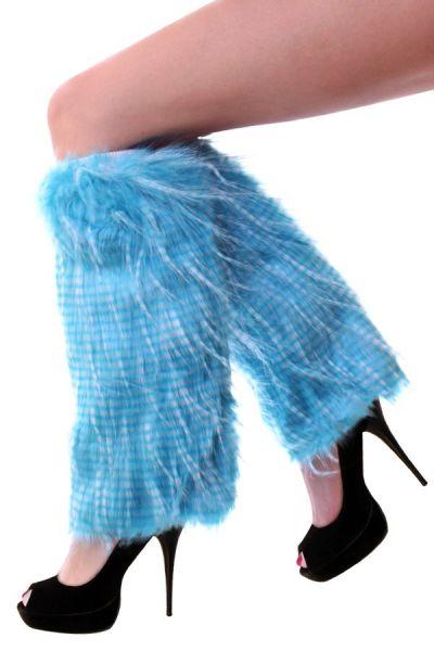Leg warmers plush stripes turquoise