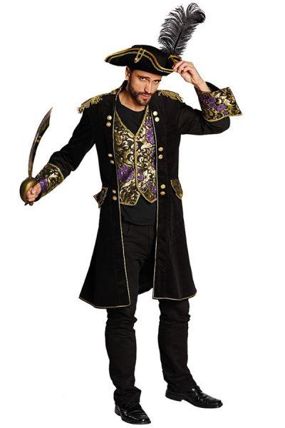 Pirate coat black brocade men