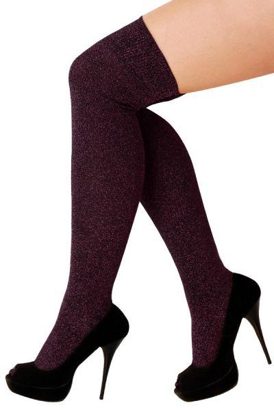 Stay-up stockings lurex pink