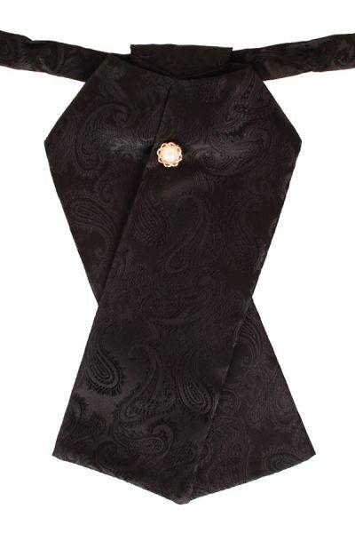 Plastron brocade fabric black