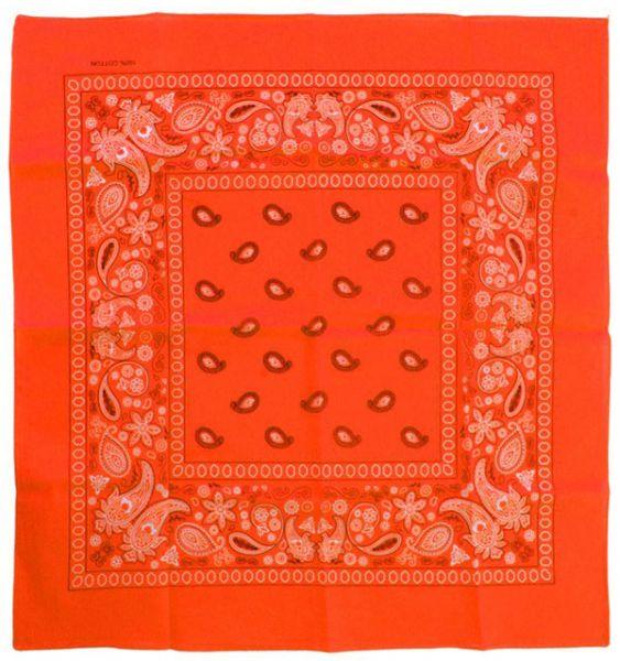 Handkerchief fluorine orange bandana with pattern