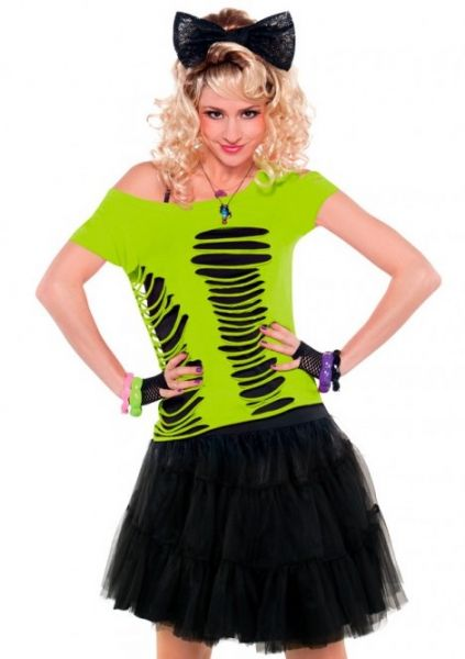 T-shirt fluor green with holes