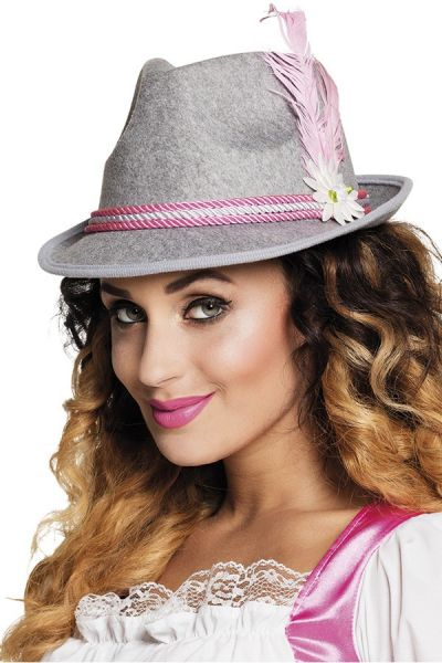 Oktoberfest Dirndl hat gray with pink