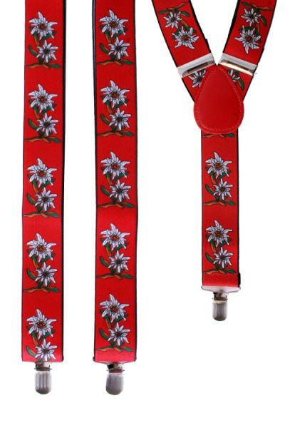 Oktoberfest Suspender red edelweiss flower