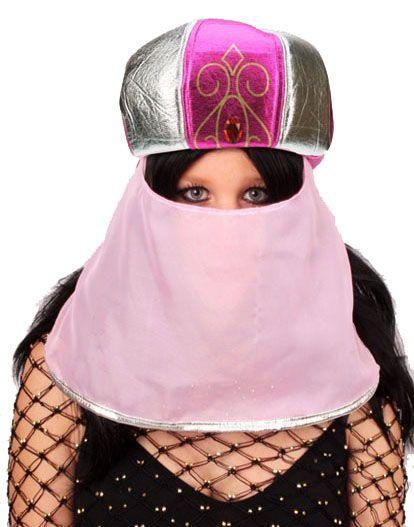 Arabian Suleika hat pink with veil