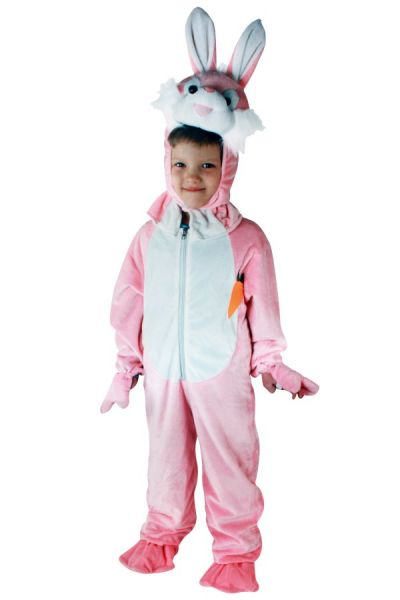 Pink rabbit costume plush children